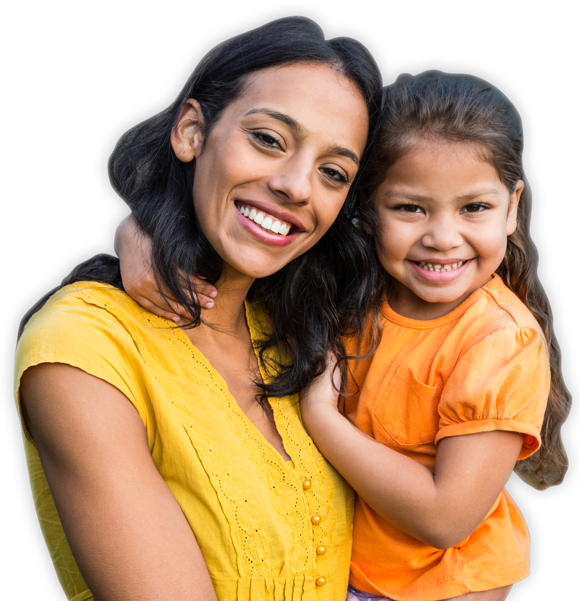Photo of Young Hispanic Mother and her Daughter